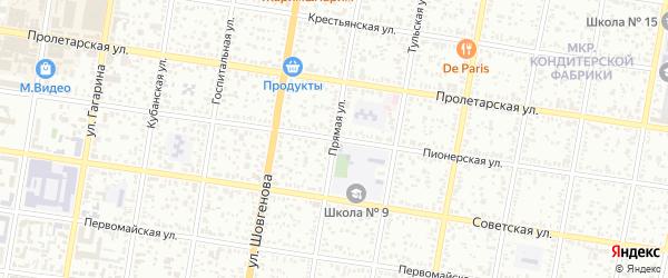 Прямая улица на карте садового некоммерческого товарищества Дружбы с номерами домов