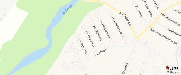 Улица Пушкина на карте Савинского поселка с номерами домов