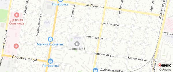 Короткая улица на карте поселка ДНТ Коммунальника с номерами домов