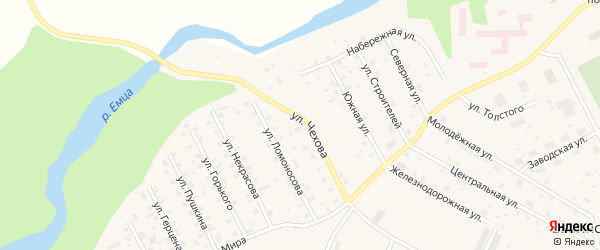 Улица Чехова на карте Савинского поселка с номерами домов