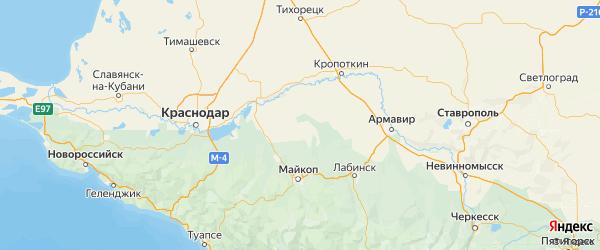 Карта Шовгеновского района республики Адыгея с городами и населенными пунктами