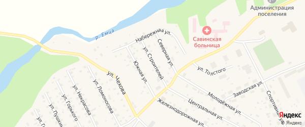 Улица Строителей на карте Савинского поселка с номерами домов