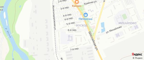 6-й переулок на карте Озерного садового некоммерческого товарищества с номерами домов