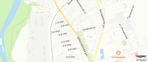 Шоссейная улица на карте садового некоммерческого товарищества Садовода-3 с номерами домов