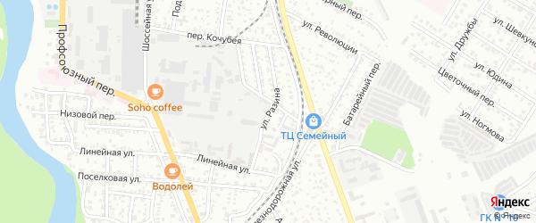 Улица Разина на карте Майкопа с номерами домов