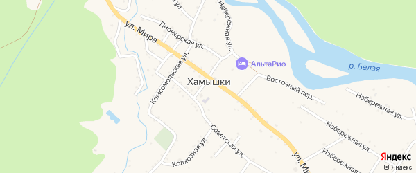 Прямая улица на карте села Хамышек с номерами домов