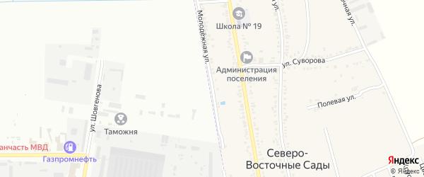 Молодежная улица на карте хутора Северо-Восточные Садов с номерами домов