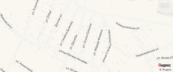 Улица Осипа Палкина на карте Савинского поселка с номерами домов
