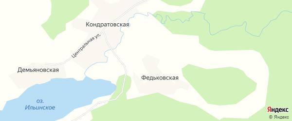 Карта Федьковской деревни в Архангельской области с улицами и номерами домов