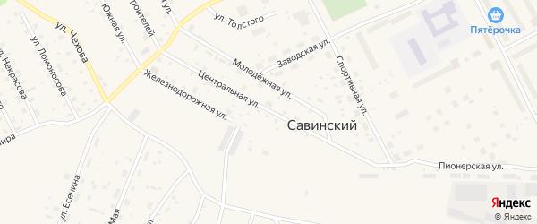 Центральная улица на карте Савинского поселка с номерами домов