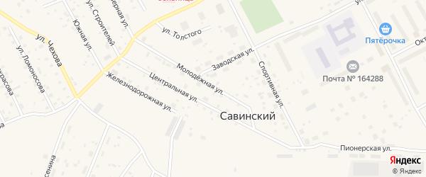 Молодежная улица на карте Савинского поселка с номерами домов