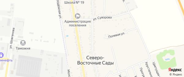 Садовая улица на карте Трехречного поселка с номерами домов
