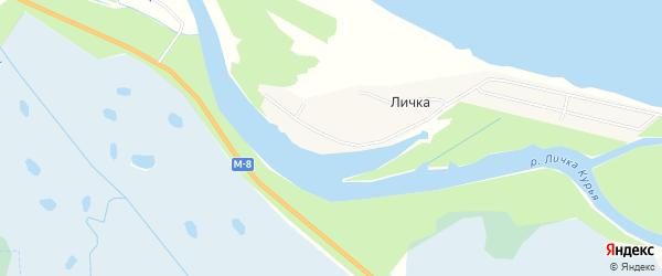 Карта деревни Лички в Архангельской области с улицами и номерами домов