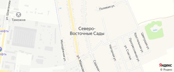 Цветущая улица на карте хутора Северо-Восточные Садов с номерами домов