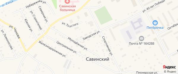Заводская улица на карте Савинского поселка с номерами домов