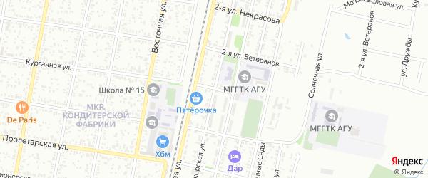 Курганная 2-я улица на карте Майкопа с номерами домов