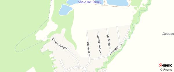 Полевая улица на карте Цветочного поселка с номерами домов