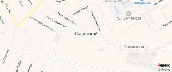 Заречная улица на карте Савинского поселка с номерами домов