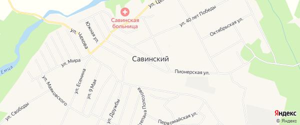 Карта Савинского поселка в Архангельской области с улицами и номерами домов
