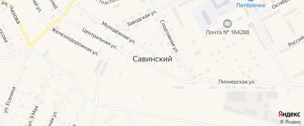 Южная улица на карте Савинского поселка с номерами домов
