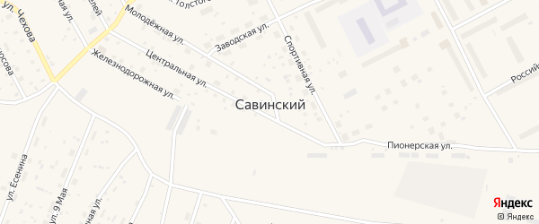 Улица Якова Огаркова на карте Савинского поселка с номерами домов