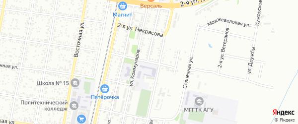 Ветеранов 2-я улица на карте Майкопа с номерами домов