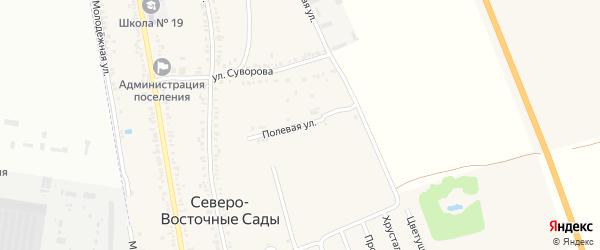 Полевая улица на карте хутора Северо-Восточные Садов с номерами домов
