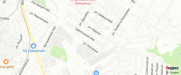 Цветочный переулок на карте Майкопа с номерами домов