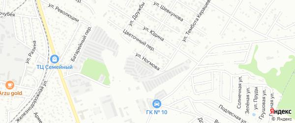 Улица Ногмова на карте Майкопа с номерами домов