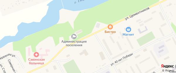 Улица Цементников на карте Савинского поселка с номерами домов
