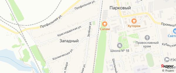 Зеленая улица на карте Западного поселка с номерами домов