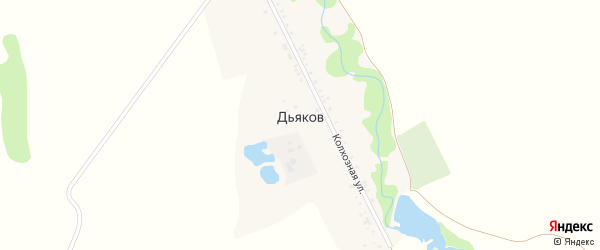 Дорога А/Д Дьяков-Калмыков на карте хутора Дьякова с номерами домов