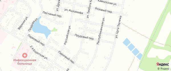 Прудовый переулок на карте Майкопа с номерами домов