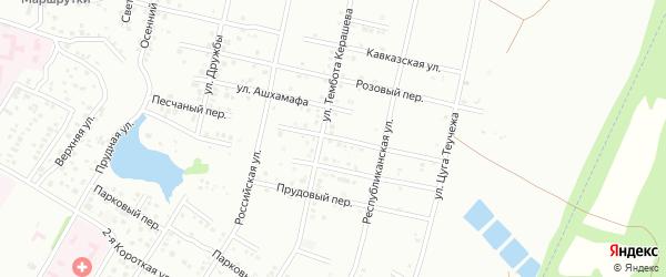 Песчаный переулок на карте Майкопа с номерами домов