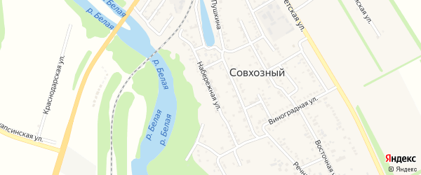 Набережная улица на карте Совхозного поселка с номерами домов