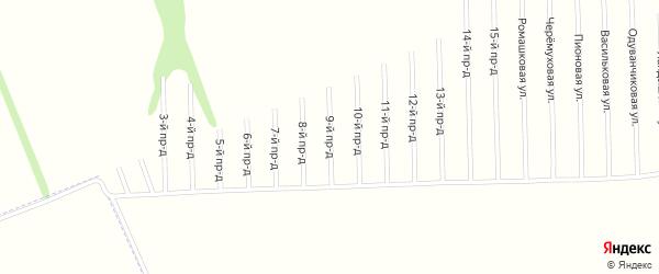 9-й проезд на карте садового некоммерческого товарищества Мебельщика с номерами домов
