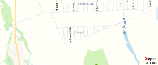 Карта садового некоммерческого товарищества Урожая в Адыгее с улицами и номерами домов