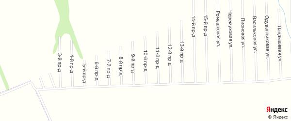 10-й проезд на карте садового некоммерческого товарищества Мебельщика с номерами домов