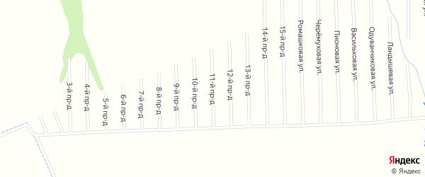 11-й проезд на карте садового некоммерческого товарищества Мебельщика с номерами домов