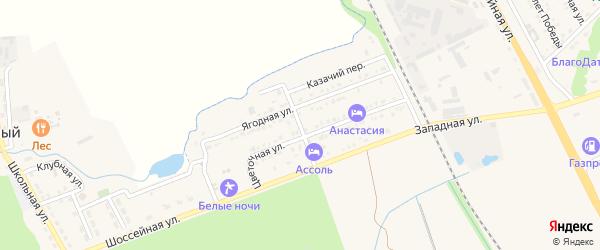 Ягодный переулок на карте Тульского поселка с номерами домов