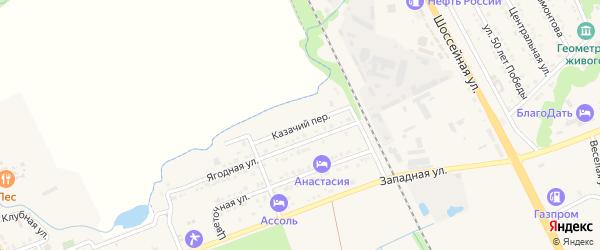 Казачий переулок на карте Тульского поселка с номерами домов