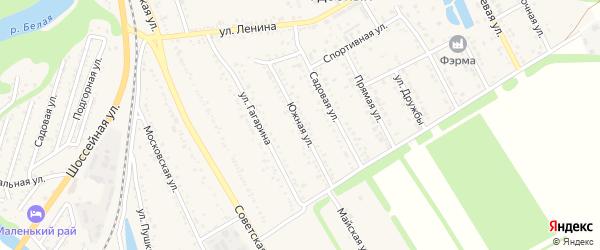 Южная улица на карте Удобного поселка с номерами домов