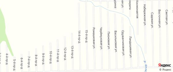 15-й проезд на карте садового некоммерческого товарищества Мебельщика с номерами домов