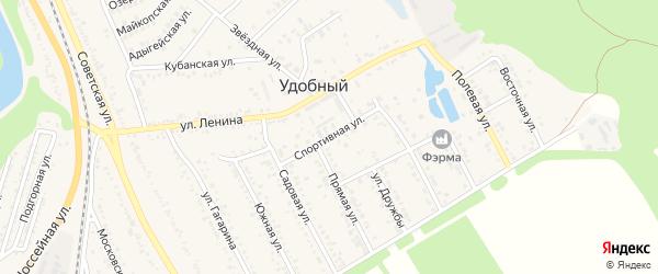 Спортивная улица на карте Удобного поселка с номерами домов