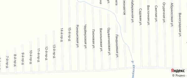 Пионовая улица на карте садового некоммерческого товарищества Мебельщика с номерами домов