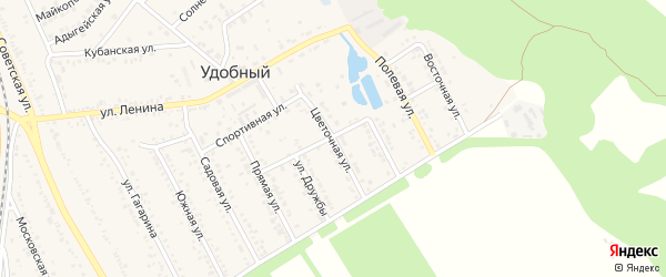 Цветочная улица на карте Удобного поселка с номерами домов