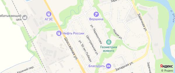 Центральная улица на карте Тульского поселка с номерами домов