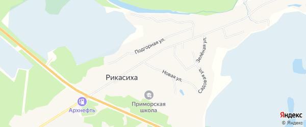 Карта поселка Приморского в Архангельской области с улицами и номерами домов