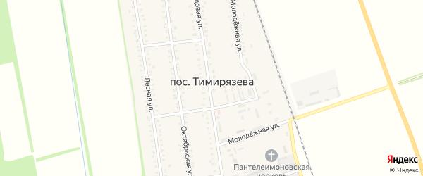Зеленая улица на карте поселка Тимирязева с номерами домов