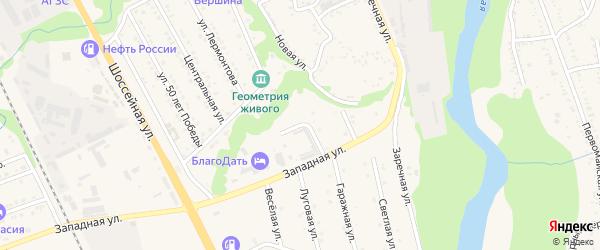 Гаражный переулок на карте Тульского поселка с номерами домов